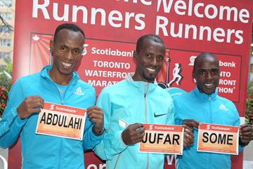 Shami Abdulahi, Tariku Jufar and Peter Some ahead of the 2014 Toronto Marathon (Victah Sailer)