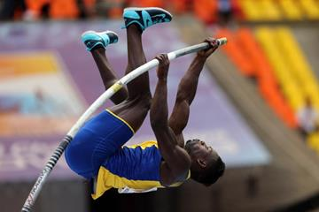 Alhaji Jeng in the men's Pole Vault at the IAAF World Athletics Championships Moscow 2013 (Getty Images)