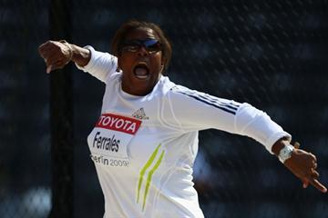 Yania Ferrales of Cuba competes in the women's Discus Throw qualification in Berlin (Getty Images)