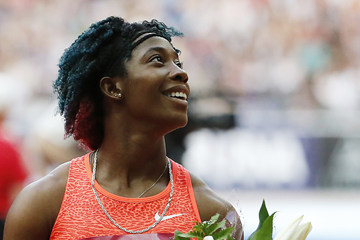 Shelly-Ann Fraser-Pryce after winning the 100m (AFP / Getty Images)