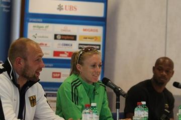 Harting, Pearson and Powell at the Weltklasse Zürich 2011 press conference (7 Sep) - Samsung Diamond League.  (Jean-Pierre Durand)