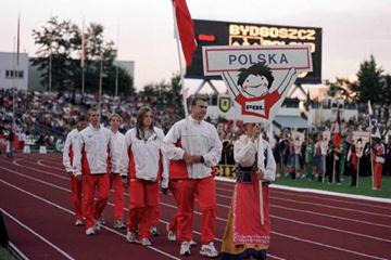 The Polish Team during the opening ceremony (© Allsport)