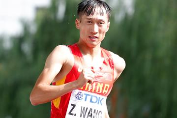 Wang Zhen in action in the 20km race walk (Getty Images)