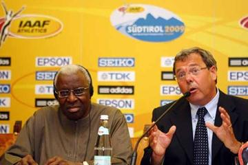 IAAF President Lamine Diack and Mayor of Bressanone Albert Puergstaller during the Press Conference (Getty Images)
