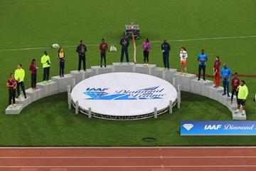 The 16 winners of the Diamond Races at the 2014 IAAF Diamond League final in Zurich (Jean-Pierre Durand)