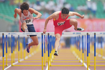 Xie Wenjun wins the 110m hurdles at the Asian Championships (Organisers / Peh Siong San)
