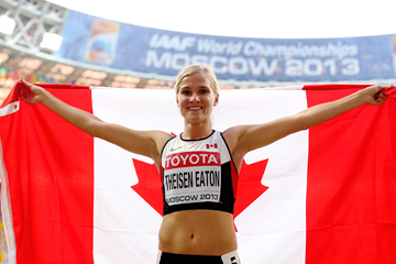 Brianne Theisen Eaton in the heptathlon at the IAAF World Championships, Moscow 2013 (Getty Images)