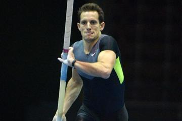 Renaud Lavillenie at the 2013 UCS Spirit National Pole Vault Summit in Reno (Kirby Lee)