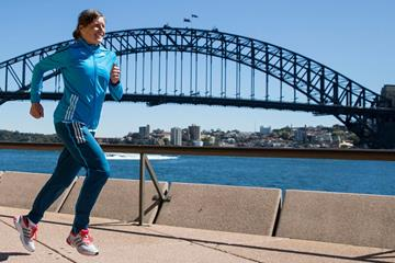 Karolina Jarzynska ahead of the Sydney Marathon (Craig Golding)