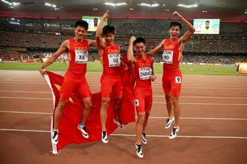 China's 4x100m team after taking silver with an Asian record at the IAAF World Championships, Beijing 2015 (Getty Images)