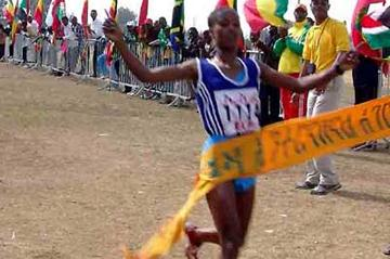 Gelete Burika wins the senior women's 4km at Ethiopian World XC trials on Jan Meda race course (Nahom Tesfaye)