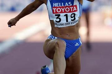 Hrysopiyi Devetzi of Greece qualifies for the Triple Jump final (Getty Images)