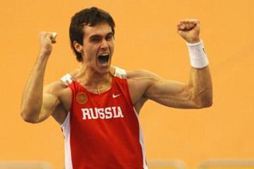 Yevgeniy Lukyanenko celebrates his surprise winning clearance of 5.90m in the men's pole vault (Getty Images)