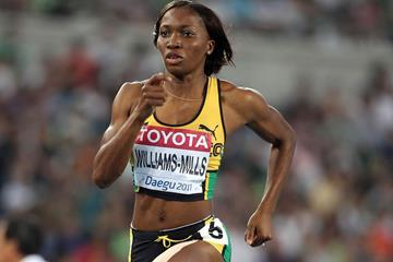 Novlene Williams-Mills of Jamaica competes in the women's 400m semi final during day two (Getty Images)