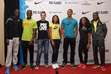 David Rudisha, Justin Gatlin, Renaud Lavillenie, Allyson Felix, Ashton Eaton, Shelly-Ann Fraser-Pryce and Brittney Reese at the press conference ahead of the IAAF Diamond League meeting in Eugene (Kirby Lee)