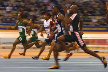 Nigeria's Olusoji Fasuba en route to winning world indoor 60m gold in 6.51. (Getty Images)