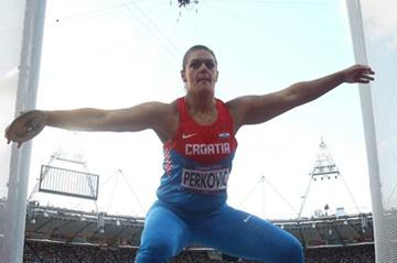 Sandra Perkovic of Croatia competes in the Women's Discus Throw Final on Day 8 of the London 2012 Olympic Games at Olympic Stadium on August 4, 2012 (Getty Images)