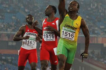 Jamaica's Lerone Clarke after his comfortable 100m win at the Commonwealth Games (Getty Images)