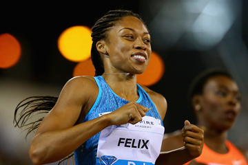 Allyson Felix wins the 200m at the IAAF Diamond League meeting in Doha (Getty Images)