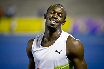 Jamaican sprinter Usain Bolt after winning in Kingston (AFP / Getty Images)