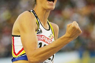 Tia Hellebaut after her upset victory in the high jump in Gothenburg (Getty Images)