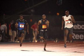 Usain Bolt goes away from Tyson Gay in New York (Victah Sailer)
