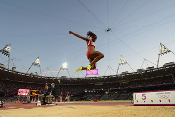 Janay DeLoach competes in the long jump at London 2012 ()