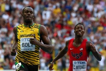 Usain Bolt and Curtis Mitchell in the mens 200m at the IAAF World Athletics Championships Moscow 2013 (Getty Images)