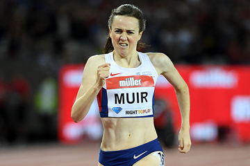 Laura Muir in the 1500m at the IAAF Diamond League meeting in London (Kirby Lee)