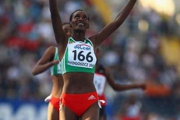 Sule Utura of Ethiopia celebrates winning the Women's 5000m Final (Getty Images)