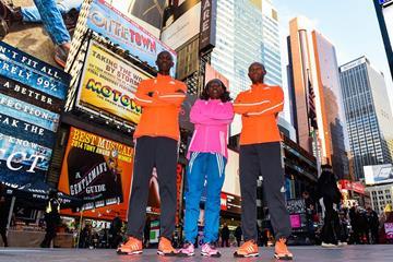 Wilson Kipsang, Mary Keitany and Geoffrey Mutai before the 2014 New York City Marathon (Getty Images)
