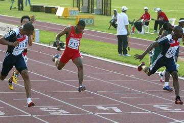 Harry Aikins-Aryeetey of GBR wins the Boys' 100m final at the World Youth Championships (Getty Images)