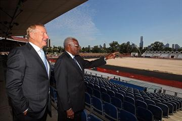 Athletics Australia President Rob Fildes and IAAF President Lamine Diack tour the Victorian Athletics Centre in Melbourne (Getty Images)