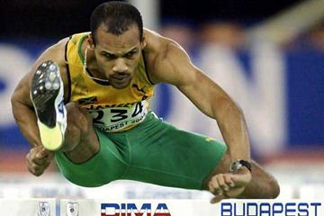 Maurice Wignall hurdling in Budapest, World Indoor Championships (AFP/Getty Images)