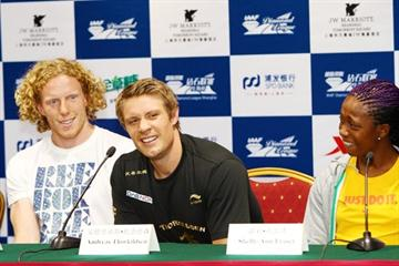 Steve Hooker, Andreas Thorkildsen and Shelly-Ann Fraser at the pre-meeting IAAF Diamond League press conference in Shanghai (Errol Anderson)