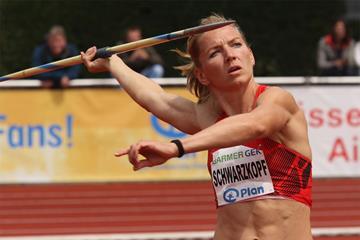 Lilli Schwarzkopf on her way to victory in the heptathlon in Ratingen (Gladys Chai von der Laage)