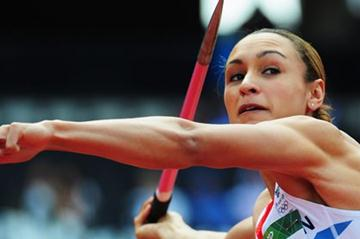 Jessica Ennis of Great Britain competes in the Women's Heptathlon Javelin Throw on Day 8 of the London 2012 Olympic Games at Olympic Stadium on August 4, 2012 (Getty Images)