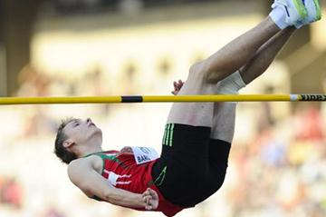 Andrei Churyla of Belarus competes for winning the gold medal on the Men's High Jump Final on the day four of the 14th IAAF World Junior Championships in Barceolona on 13 July 2012 (Getty Images)