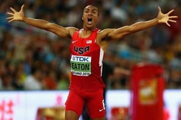 Ashton Eaton after clocking 45.00 in the decathlon 400m at the IAAF World Championships, Beijing 2015 (Getty Images)