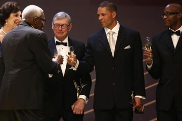 IAAF President Lamine Diack, IAAF Hall of Fame members Irina Szewinska, Peter Snell, Dan O'Brien and Ed Moses at the IAAF Centenary Gala in Barcelona (Giancarlo Colombo)