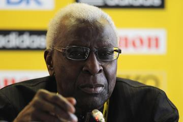 IAAF President Lamine Diack at the 2013 World Youth Championships press conference (Getty Images)