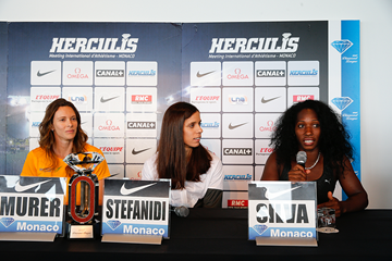 Fabiana Murer, Ekaterini Stefanidi and Yarisley Silva at the press conference for the IAAF Diamond League meeting in Monaco (Philippe Fitte)