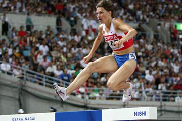 Yekaterina Volkova of Russia on her way to winning the Steeplechase final (Getty Images)
