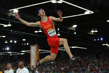 Huang Changzhou in the long jump at the IAAF World Indoor Championships Portland 2016 (Getty Images)