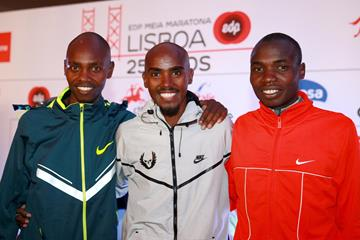 Micah Kogo, Mo Farah and Stephen Kibet at the press conference for the EDP Lisbon Half Marathon (Victah Sailer / organisers)