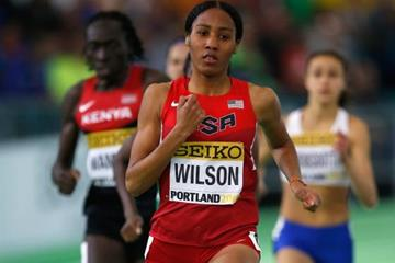 Ajee Wilson in the 800m at the IAAF World Indoor Championships Portland 2016 (Getty Images)
