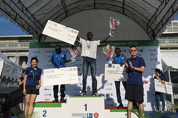 Julius Maisei on top of the podium at the 2015 Singapore Marathon (Organisers)