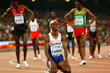 Mo Farah after winning the 5000m at the IAAF World Championships, Beijing 2015 (Getty Images)