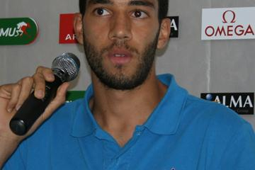 Olympic silver medallist Mahiedine Mekhissi-Benabbad at the pre-meet press conference in Paris (Bob Ramsak)