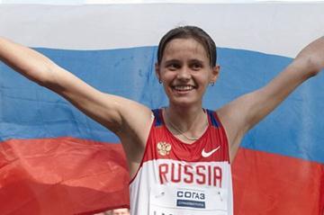 Elena Lashmanova celebrates winning the women's 20km in Saransk (Getty Images)
